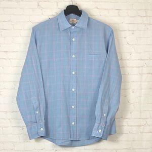 Faherty Plaid Button Down Tee Shirt Small Blue